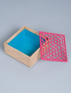 Buy Pink Blue Aluminium Wood Square Zafar Jaali Box 6.1in x 3in Home Accents Decor Online at Jaypore.com