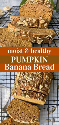 This pumpkin banana bread is moist, gluten free and only sweetened with banana. This paleo pumpkin bread recipe is perfect alongside your morning cup of coffee, eaten as an afternoon snack or topped with honey as a simple dessert. #pumpkinbananabread #pumpkinbread #paleo #grainfree Paleo Pumpkin Recipes, Paleo Pumpkin Bread, Pumpkin Banana Bread, Flours Banana Bread, Pumpkin Chocolate Chips, Gluten Free Pumpkin, Healthy Pumpkin, Baked Pumpkin, Banana Bread Recipes