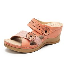 5227d4821532d LOSTISY Opened Toe Splicing Floral Rhinestone Hollow Out Wedges Sandals