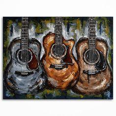 Peinture de guitare / / musique art / / grand art par MagdaMagier