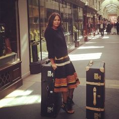 Lisa Marie Fernandez with her Globe-Trotter luggage outside the Burlington Arcade store