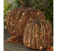 They have small pumpkins like this at Target now for 2.50 without the lights. You can buy battery powered lights and make these yourself. They retail for $60.00 - $79.00 at Pottery Barn!