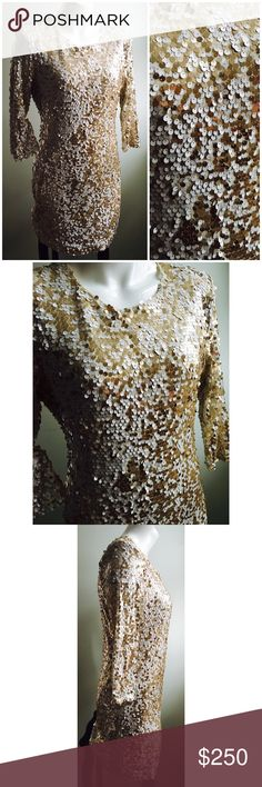 """French Connection Sz 12 Large Gold Sequins Dress Company: French Connection Size: 12 (large) Has shoulder pads inside (easy to remove if you want to) Invisible zipper on the back  Original retail: $400 Gold/white sequins Pre owned. Worn once, has some sequins missing under one armpit but barely noticeable. Please see photos. Has lining 100% cotton Shell: 95% nylon, 5% spandex  Measurements laying down: Chest: 18.5"""" Sleeve: 17"""" Waist: 16"""" Center back length: 33"""" French Connection Dresses Mini"""