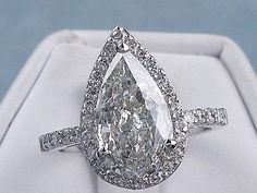 2.57 CARATS CT TW PEAR SHAPE DIAMOND ENGAGEMENT RING H SI3