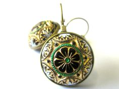 Vintage glass floral earrings. Black glass with floral design