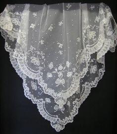 Carrickmacross Irish lace veil that Sarah wears at her wedding