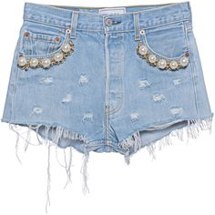 FORTE COUTURE Kalifornia Pearl Blue // Denim shorts with pearls ($270) ❤ liked on Polyvore featuring shorts, destroyed jean shorts, distressed jean shorts, destroyed shorts, ripped shorts and jean shorts