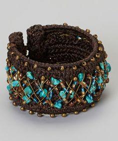 Look at this #zulilyfind! Turquoise & Gold Bracelet #zulilyfinds
