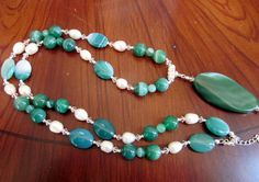 Long Necklace of Beautiful Bold Green Striped Agate and Fresh Water White Pearls with Pendant, Unique, OOAK, SRAJD