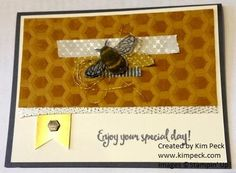 Bee card with inked honeycomb - see my video tutorial at www.kimpeck.com