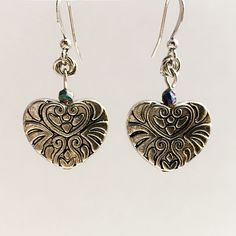 Embossed Heart and Maille Rosettes Earrings by VexedUpBoutique on Etsy Jewelry Design, Unique Jewelry, Wire Art, Chainmaille, Semi Precious Gemstones, Rosettes, Czech Glass, Emboss, Jewellery