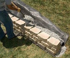 landscaping retaining walls Build an EASY DIY Retaining Wall Cheap Retaining Wall, Backyard Retaining Walls, Retaining Wall Design, Building A Retaining Wall, Concrete Retaining Walls, Stone Retaining Wall, Retaining Wall Drainage, Retaining Wall With Steps, Poured Concrete