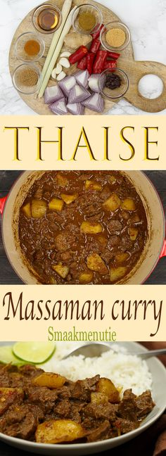 Massaman curry #recept #recipes #curry #thaifood #thailand #thai Curry Recipes, Thai Recipes, Indian Food Recipes, Asian Recipes, Chicken Massaman Curry, Beef Curry, Authentic Thai Food, Slow Cooked Lamb, Indian