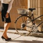 Such a cool idea: pencil skirt with a back zip that hides extra fabric to make cycling easier! Iva Jean Reveal Skirt