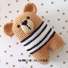 Handmade by E★: Beer Donato (NL-vertaling) Crochet For Boys, Crochet Bear, Crochet Gifts, Cute Crochet, Crochet Dolls, Amigurumi Patterns, Crochet Patterns, Handgemachtes Baby, Baby Toys
