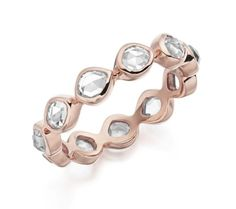 Siren Eternity Ring Small in 18ct Rose Gold Plated Vermeil on Sterling Silver with Rock Crystal