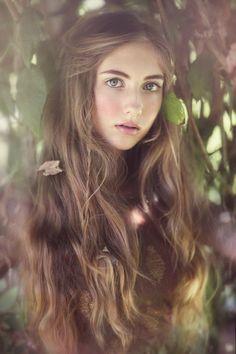 pretty- trees+long hair+natural makeup