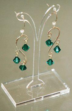 Emerald Wave Earrings Green Earrings Emerald by KwaiJewellery