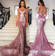 New Arrival Sexy Prom Dress Evening Dresses Sequin Backless Court Train Party Dress Evening Dress Prom Dress