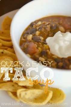 Budget-friendly taco soup uses pantry staples and whips up fast! Get it from the cupboard to table in just 20 minutes, or freeze it ahead of time for an effortless meal on busy nights that is sure to please. Taco Soup Slow Cooker, Slow Cooker Freezer Meals, Freezer Cooking, Crockpot Meals, Mexican Food Recipes, Soup Recipes, Cooking Recipes, Freezer Recipes, Chili Recipes