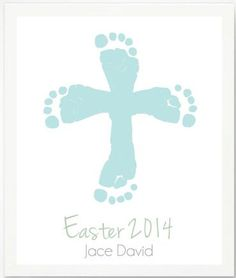 First Easter Gifts for the Baby:  Personalized Easter Cross with Blue Baby Footprint Art Print by Pitter Patter Print @ Etsy