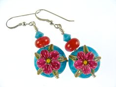 Handmade Lampwork Earrings, Turquoise Glass Bead Earrings, Lampwork Jewelry, Fuchsia Flower Earrings, Glass Bead Jewelry, Beadwork Earrings