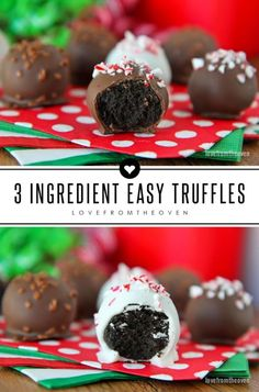 These easy 3 ingredient chocolate truffles are one of my favorite Christmas candies.  Quick, easy and delicious, no wonder it's a favorite holiday recipe!