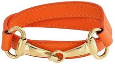 Bling Jewelry Orange Leather Gold Plated Steel Horses Bit Wrap Bracelet.