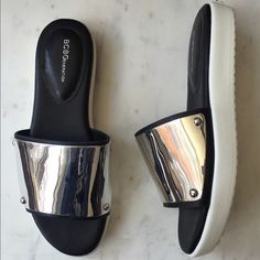 BCBGeneration SILVER Slides Sandals BRAND NEW ONLY WORN ONCE! BCBGeneration Shoes Flats & Loafers