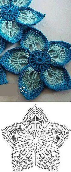 Watch The Video Splendid Crochet a Puff Flower Ideas. Wonderful Crochet a Puff Flower Ideas. Gilet Crochet, Crochet Motifs, Crochet Diagram, Freeform Crochet, Crochet Chart, Crochet Squares, Thread Crochet, Irish Crochet, Diy Crochet