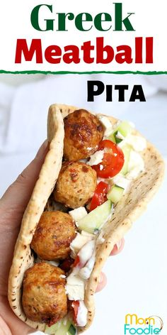 Greek Meatball Pita with feta, tomato and cucumber. Great lunch idea!