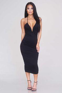 V-Wire Midi Dress - Black
