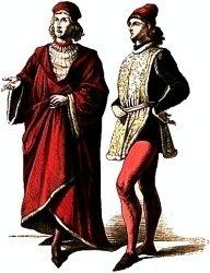 While modern clothes of the 21st Century are composed of ties, jackets, hoods, and jeans, etc, Reneissance clothing like this one depicts people wearing long, flowing robes, and intricate hats. People are also depicted wearing thin belts with tights and what appears to be a vest-like apparel that covers the chest. (The guy on the right can also be seen wearing tight, puffy clothes underneath.)