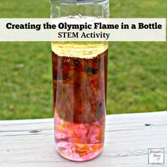 This STEM activity invites kids to create a falling Olympic flame of food coloring in a bottle. A free activity printable is available on this post.