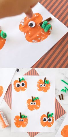 This Apple Stamping Pumpkin Craft is such a fun harvest time activity for the kids!  The kids will love the googly eyes!