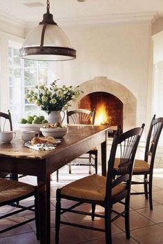 Traditional Dining Room with Terra cotta tile floor, Restoration hardware: clemson prismatic pendant in bronze