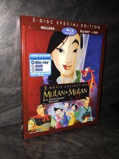 Mulan 1 & 2 Blu-Ray/DVD Disney NEW FACTORY SEALED w/ SLIPCOVER RARE OOP