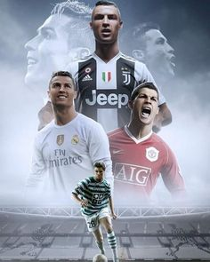'Cristiano Ronaldo: Sporting, Manchester United, Real Madrid & Juventus F.' Poster by Cristiano Ronaldo Cr7, Cristiano Ronaldo Manchester, Cristiano Ronaldo Wallpapers, Cristino Ronaldo, Ronaldo Football, Sports Football, Nfl Superbowl, College Football, Juventus Fc