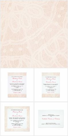 Pink Lace Wedding / Party / Event invitations from Be There Invitations and Janusian Gallery