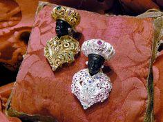 Silver Gold Plated Blackamoors - Dogale Jewellery Venice Italia