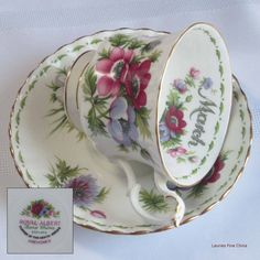 Royal Albert Flower of the Month March - Anemones Bone China Tea Cup and Saucer - Made in England