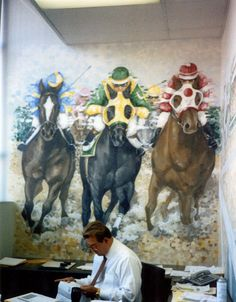 By HovePaintingStudio.com  Horse Scene #2 - Revere  Size: 2 Walls  Location: Chicago, IL  Office - Mural - Trompe l'oeil