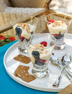 These Zabaglione with Fresh Berries and Almond Cookies are a sweet treat.