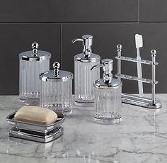 Chatham Bath Accessories - available in polished nickel Pink Bathroom Decor, Art Deco Bathroom, Glass Bathroom, Bathroom Colors, Bathroom Stuff, Hall Bathroom, Bathroom Sinks, Bath Decor, Bathroom Fixtures