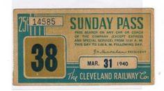 Cleveland Rwy. Sunday pass (1940)