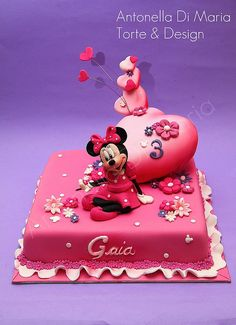 Tartas, Galletas Decoradas y Cupcakes: Miska Mouska Mickey Mouse! Baby Girl Birthday Cake, Barbie Birthday Cake, Minnie Mouse Birthday Cakes, Mickey And Minnie Cake, Mickey Cakes, Brithday Cake, Cake Show, Friends Cake, Character Cakes