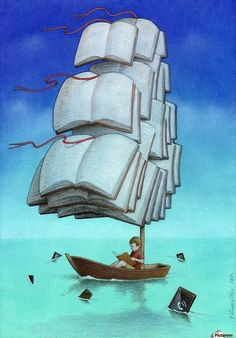 30 Illustrations By Pawel Kuczynski Showing What's Wrong With Modern Society The Polish artist Pawel Kuczynski is an absolute master, combining satire I Love Books, Books To Read, Satirical Illustrations, Meaningful Pictures, Reading Art, What Book, Book Worms, Book Lovers, Book Art