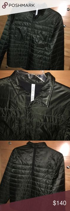 M Lululemon quilted dark green performance jacket Lululemon quilted/puffer athletic/performance jacket, a little on the thinner side. Body: 100% nylon. Contrast: 90% nylon, 10% elastase. Filling: 100% polyester. Practically brand new. Only worn twice. Dark green color with black accent + buttons. Very comfortable. Considered outerwear. lululemon athletica Jackets & Coats Performance Jackets