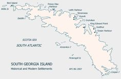 South Georgia Island Settlement Map by mappery #Map #South_Georgia_Island
