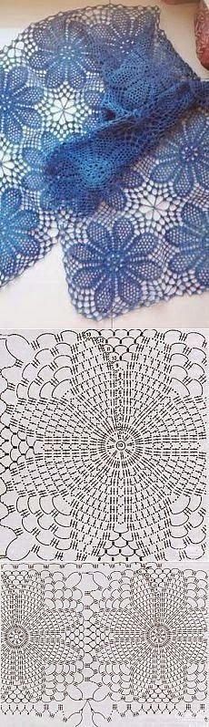 56 Ideas for crochet granny square shawl pattern charts Filet Crochet, Crochet Lace Scarf, Crochet Diagram, Crochet Chart, Thread Crochet, Crochet Motif, Irish Crochet, Crochet Doilies, Crochet Stitches